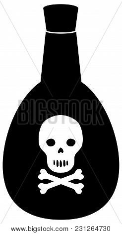 Poison Bottle With Skull And Crossbones. Sign Of Danger