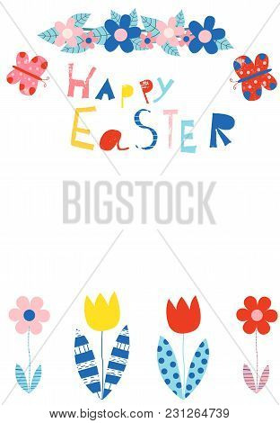 Happy Easter Greeting Card, Invitation, Brochure Or Template In Bold Colors