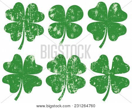 Green Vector Four Leaf Clover Silhouette S With Texture For Cards, Saint Patrick's Day Designs And I