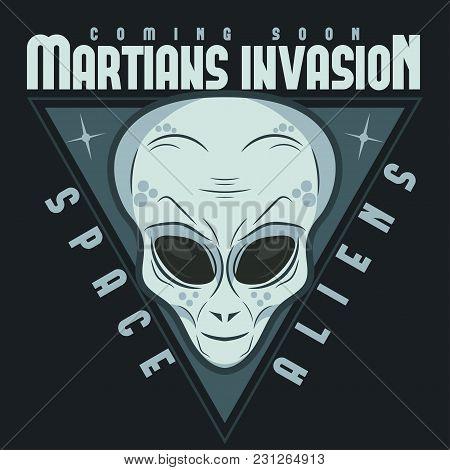 Alien Face Tee Stump, Humanoid Martian Head Print, Futuristic Space Invader, Paranormal Fantasy Cart