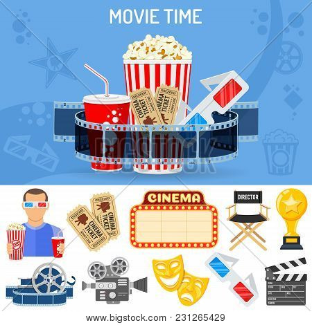 Cinema And Movie Time Concept With Flat Icons Masks, 3d Glasses, Clapperboard And Viewer With Popcor