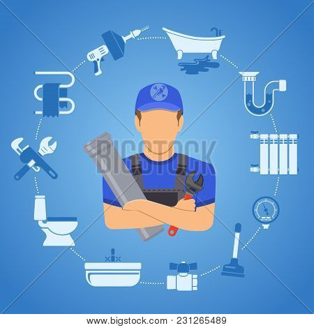 Plumbing Service Infographics Repair And Cleaning With Plumber, Tools And Device Two Color Flat Icon