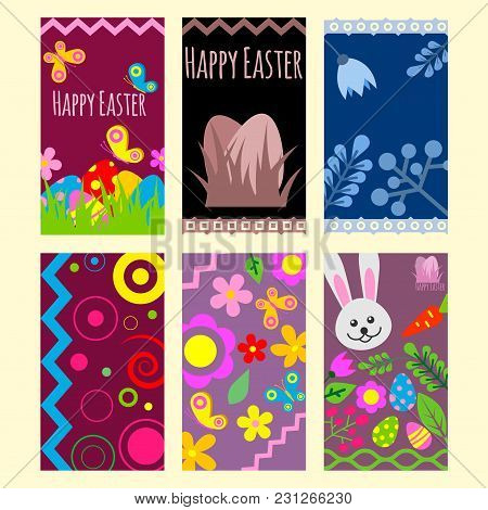 Easter Eggs Vector Cards Painted With Spring Pattern Decoration Retro Multi Colored Vintage Ornament