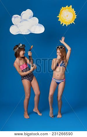 Beautiful 2 Girlfriends In Swimsuits, Sunglasses, Fun, Dance And Show Joy Emotions.full Length Portr