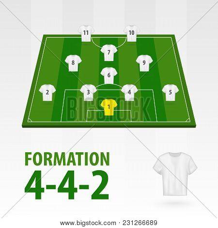 Football Players Lineups, Formation Diamond 4-4-2 . Soccer Half Stadium.