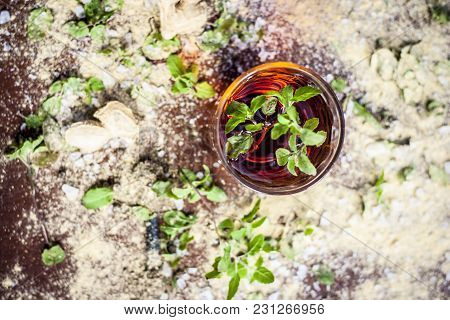 Ayurvedic Herbal Drink Consisting Of Holy Basil,tulsi,dried Ginger Powder,soth With Warm Water On A