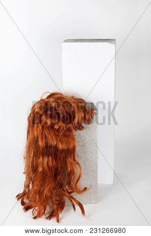 Red Long Wig Cinder Block