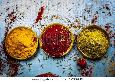Close Up Of Three Basic,main And Essential Ingredients Or Spices Of Indian/asian Food On A Silver Wo