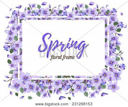 Tender Floral Spring Or Summer Frame Template. Vintage Light Element For Decorating Photo Or Informa