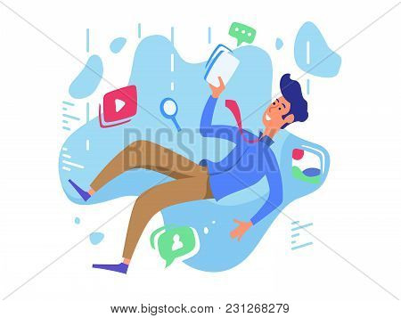 Surfing Web Network, Video, Communication And Music. Internet Chasm. Vector Illustration