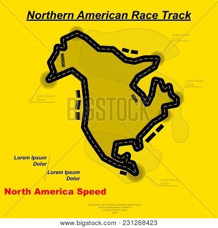 Yellow Background With Black Northern America Race Track Silhouette