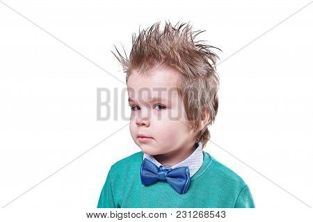 Handsome Little Boy In Blue Bow Tie And Green Sweater Isolated On White Background For Any Purpose