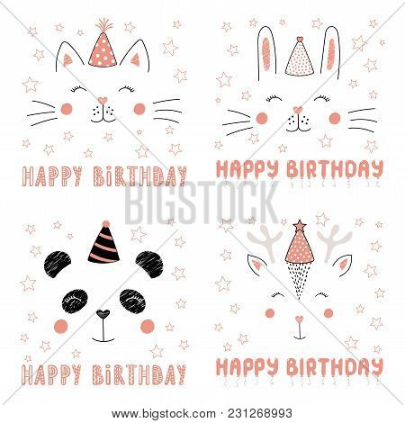 Set Of Hand Drawn Portraits Of Cute Funny Animals In Party Hats, With Text Happy Birthday. Isolated