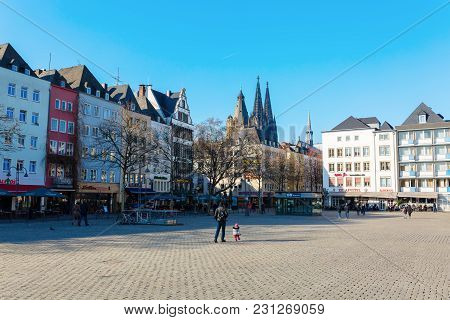 Cityscape At The Heumarkt In Cologne, Germany