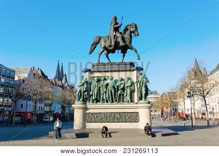 Equestrian Statue On The Heumarkt In Cologne, Germany