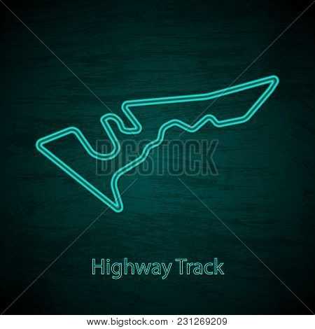 Black Grunge Background With Neon Race Track And Text