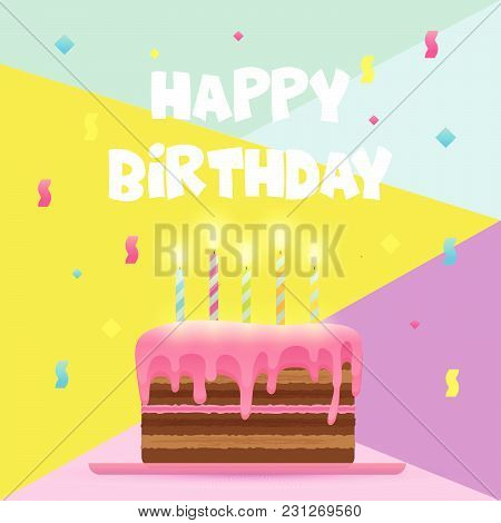 Vector Illustration Eps 10 File, Happy Birthday Card Template