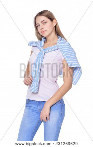 Full Length Portrait Of Beautiful Woman In Jeans  Posing Isolate  On White