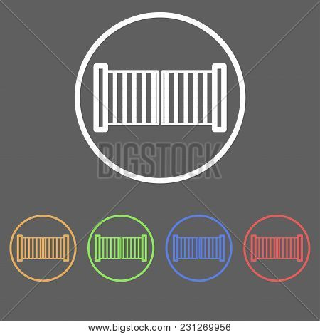 Icons Of Swing Gates In Linear Style Of Different Colors