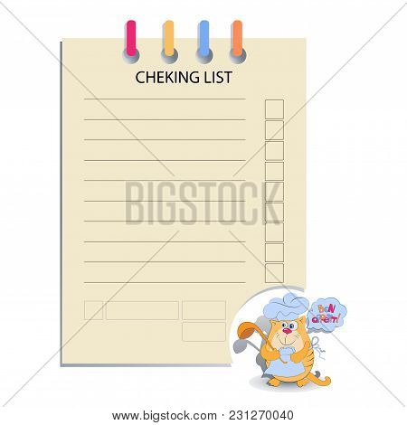 CHEK LIST and the cat cook. Design for messages, infromation for customers, decorated menus, notes for waiters, or housewives, book for recipes.