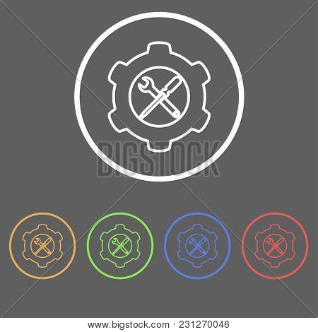 Hardware Repair Icons In Linear Style Of Different Colors
