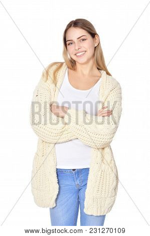 Portrait Of Beautiful Woman In  Warm Clothes    Posing Isolate  On White