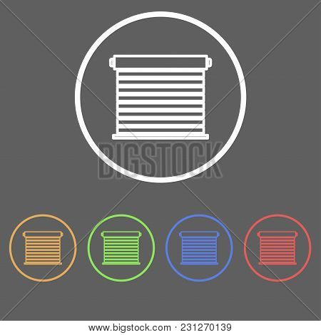 Icons For Roller Blinds In Linear Style Of Different Colors