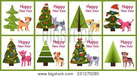 Happy New Year Posters 2018 Set With Abstract Christmas Trees And Cute Spotted Puppies Vector Illust