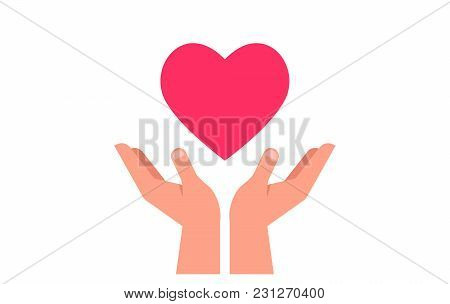 Charity, Giving And Donation Poster. Healthcare, Medicine And Blood Donation Concept With Hands Hold