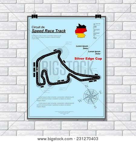 White Brick Wall With Light Blue Plackard With Race Track And Sample Text