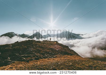 Mountains Landscape Travel Lifestyle Adventure Concept Traveler Standing Alone Summer Vacations Outd