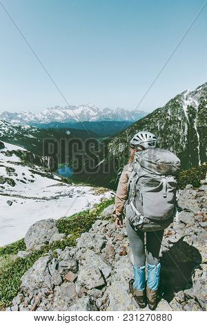 Backpacker Tourist Climbing Mountains Adventure Travel Lifestyle Concept Active Summer Vacations Spo