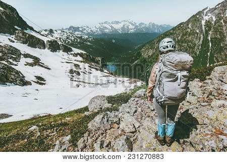 Backpacker Tourist Climbing Mountain Summit Adventure Travel Healthy Lifestyle Concept Active Vacati