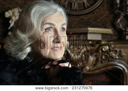 Portrait Of Senior Smiling Woman In Boa  Posing At Home