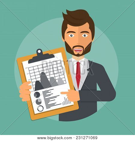 Businessman Holding A Document With To-do List. To-do List Concept. Flat Vector Design.