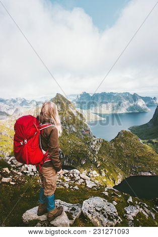 Tourist Woman With Backpack Enjoying View In Mountains Norway Traveling Healthy Lifestyle Adventure