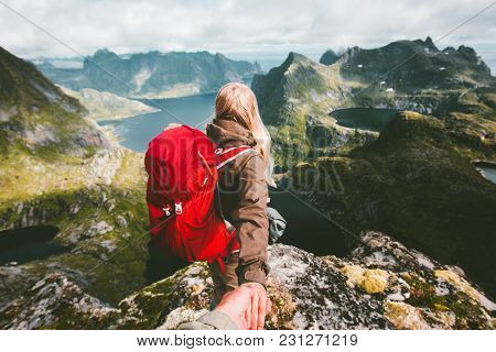 Couple Follow Holding Hands On Cliff Mountain In Norway Travel Lifestyle Love Emotions Concept Summe