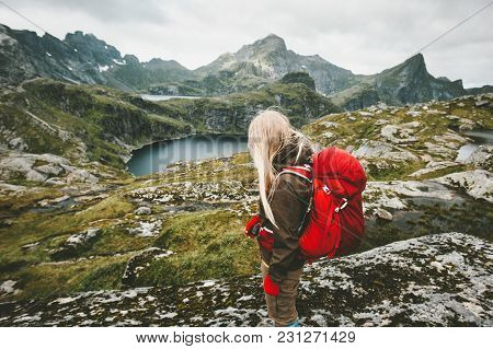 Tourist Woman With Red Backpack Hiking In Mountains Norway Traveling Lifestyle Adventure Concept Act