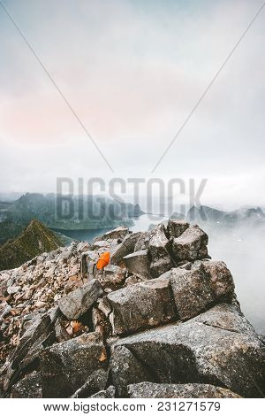 Camping Tent On The Top Of Mountain Landscape Aerial View In Norway Scandinavian Travel