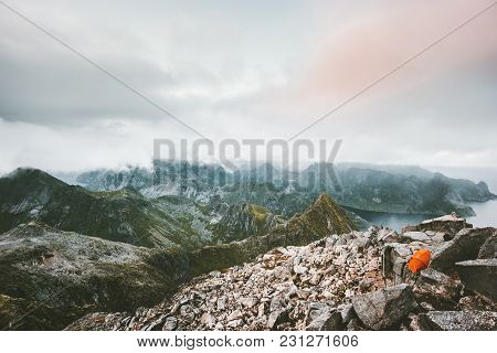 Camping Tent On The Top Of Mountain Landscape Aerial View From Hermannsdalstinden In Norway Scandina