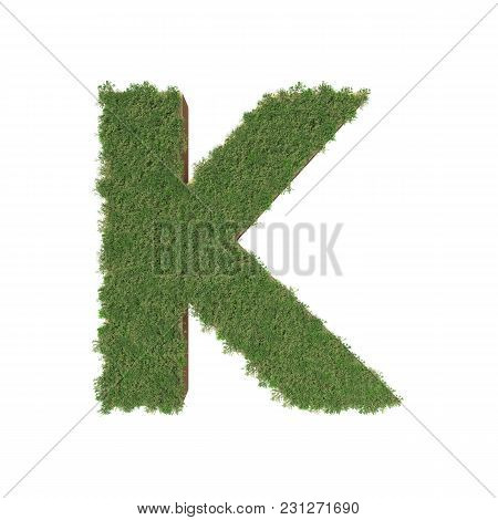 Alphabet K Made Of Green Tree On White Background. 3d Illustration