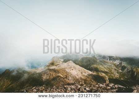 Foggy Mountains Landscape Aerial View In Norway Scandinavian Nature Minimal Style Scenery