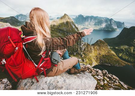 Traveler Woman Admiring Landscape Of Mountains Norway Traveling Lifestyle Adventure Concept Hiking A