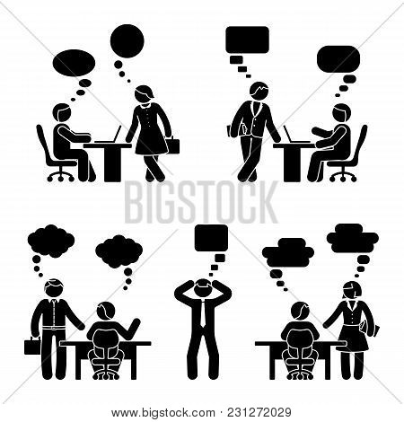 Stick Figure Business People Communication Set. Vector Illustration Of Speech Cloud On White