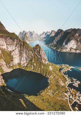 Aerial View Fjord Landscape In Norway Reinebringen Mountain Lofoten Islands Travel Scenery Scandinav