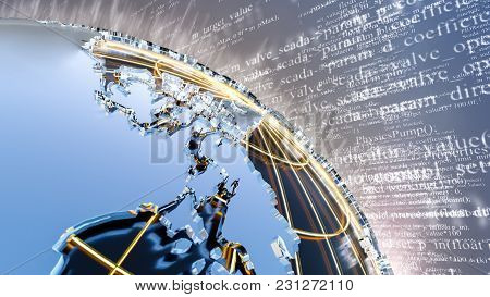 3d Globe Made Of Metal And Glass. Against The Backdrop Of A Digital Program Code. 3d Illustration