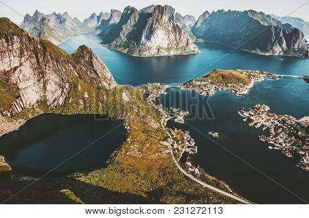 Reinebringen Mountain Aerial View Landscape In Norway Lofoten Islands Travel Scenery Scandinavian Na