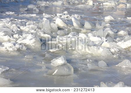 Ice Chunks On The Surface Of The Frozen Sea In Helsinki, Finland.