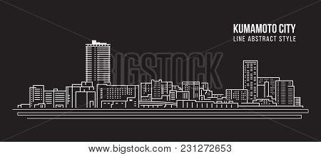 Cityscape Building Line Art Vector Illustration Design - Kumamoto City