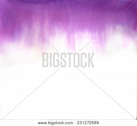 Abstract Ultraviolet Watercolor On White Background. The Color Splashing In The Paper. It Is A Hand